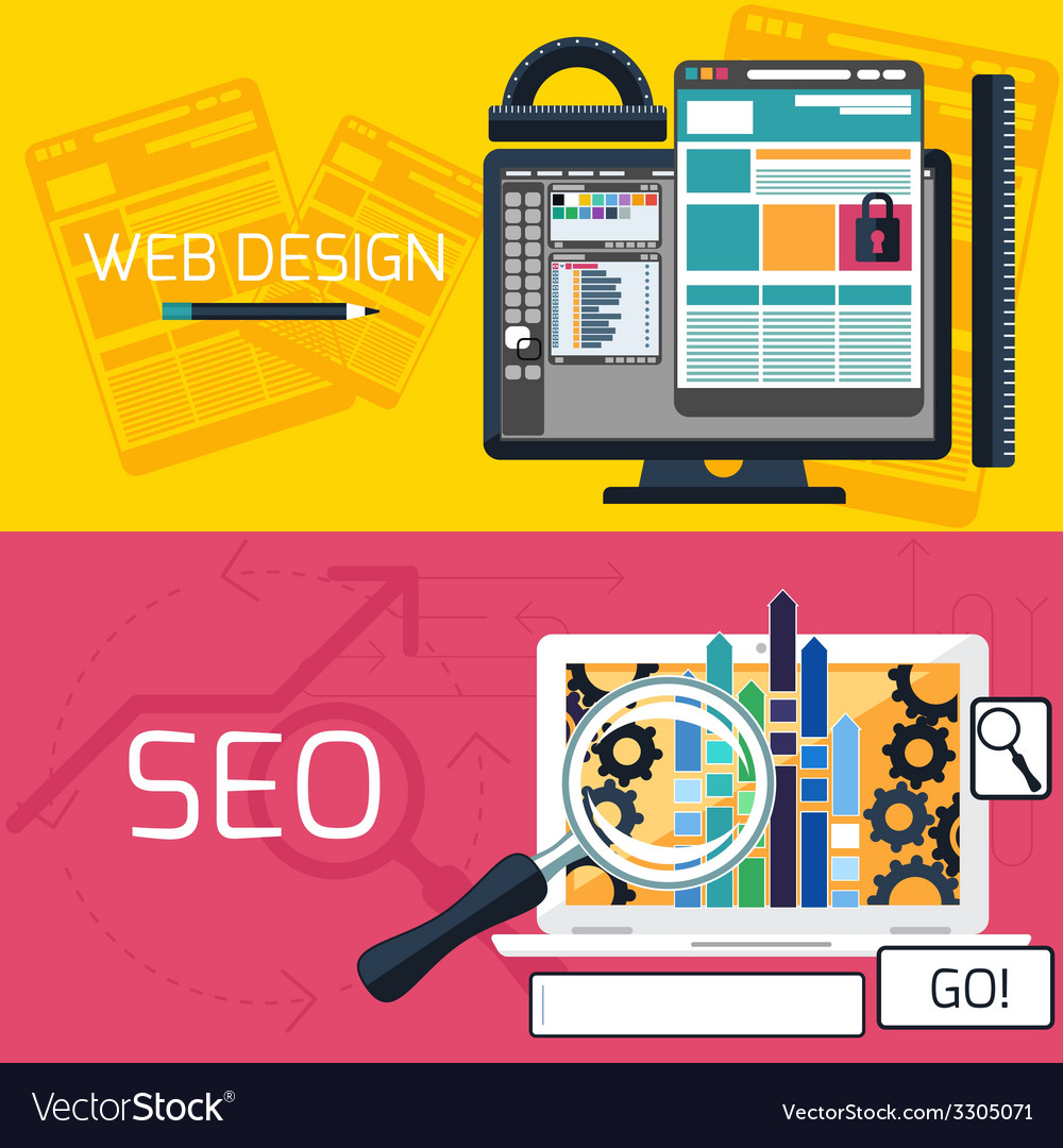 Seo optimization and web design banners vector | Price: 1 Credit (USD $1)