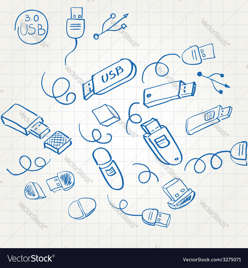 Sketch set usb flash memory card vector | Price: 1 Credit (USD $1)