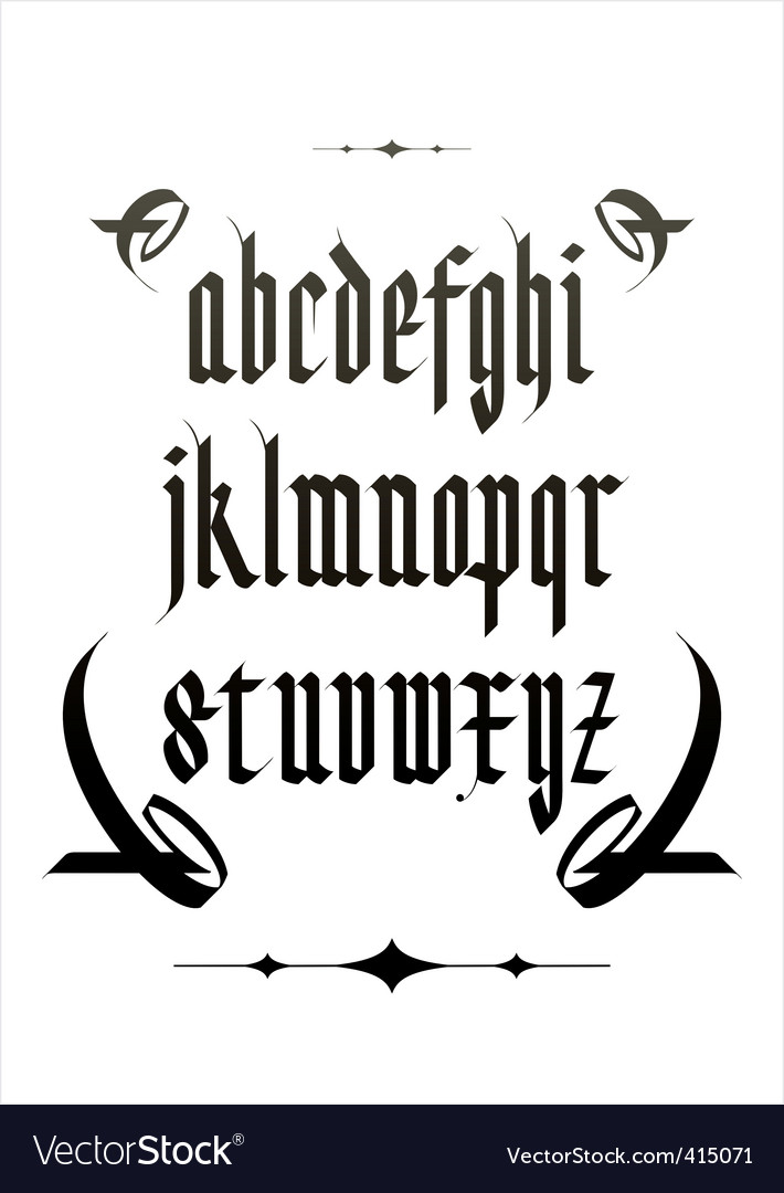 Vintage gothic font vector | Price: 1 Credit (USD $1)