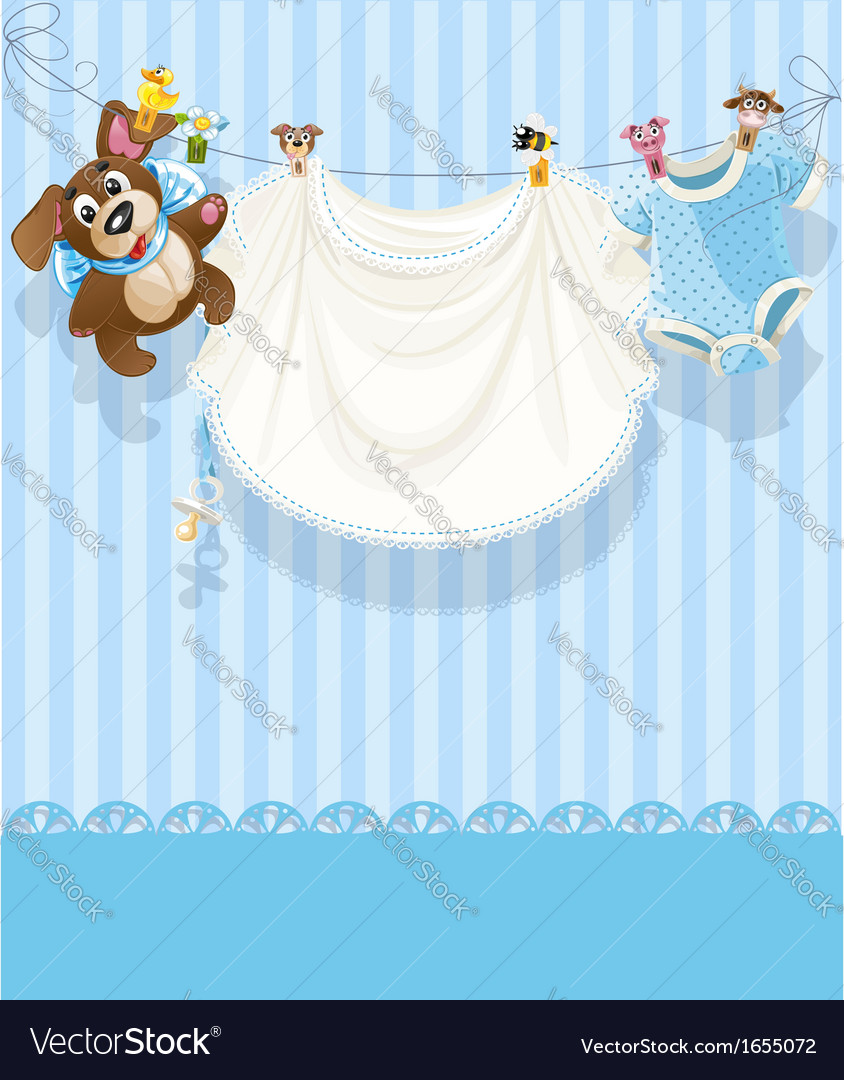Baby boy blue openwork announcement card vector | Price: 1 Credit (USD $1)