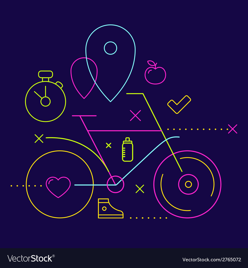 Bicycle on a dark background with different spor vector | Price: 1 Credit (USD $1)