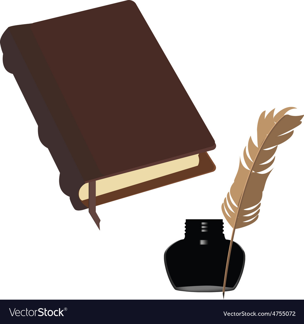 Brown book and inkwell vector | Price: 1 Credit (USD $1)