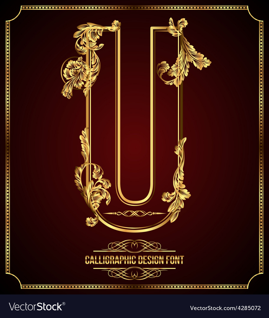 Calligraphic font letter u vector | Price: 3 Credit (USD $3)