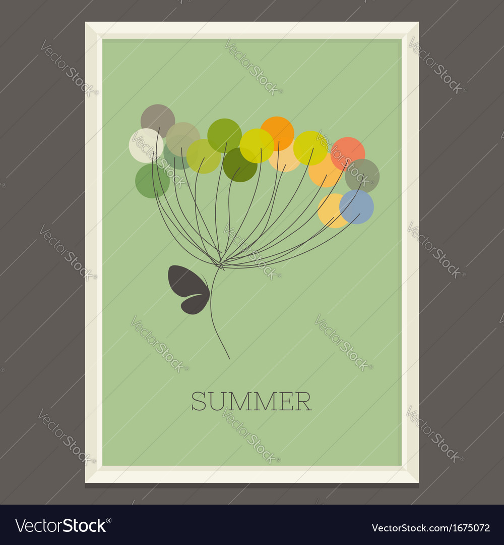 Colorful summer flower with butterfly vector | Price: 1 Credit (USD $1)