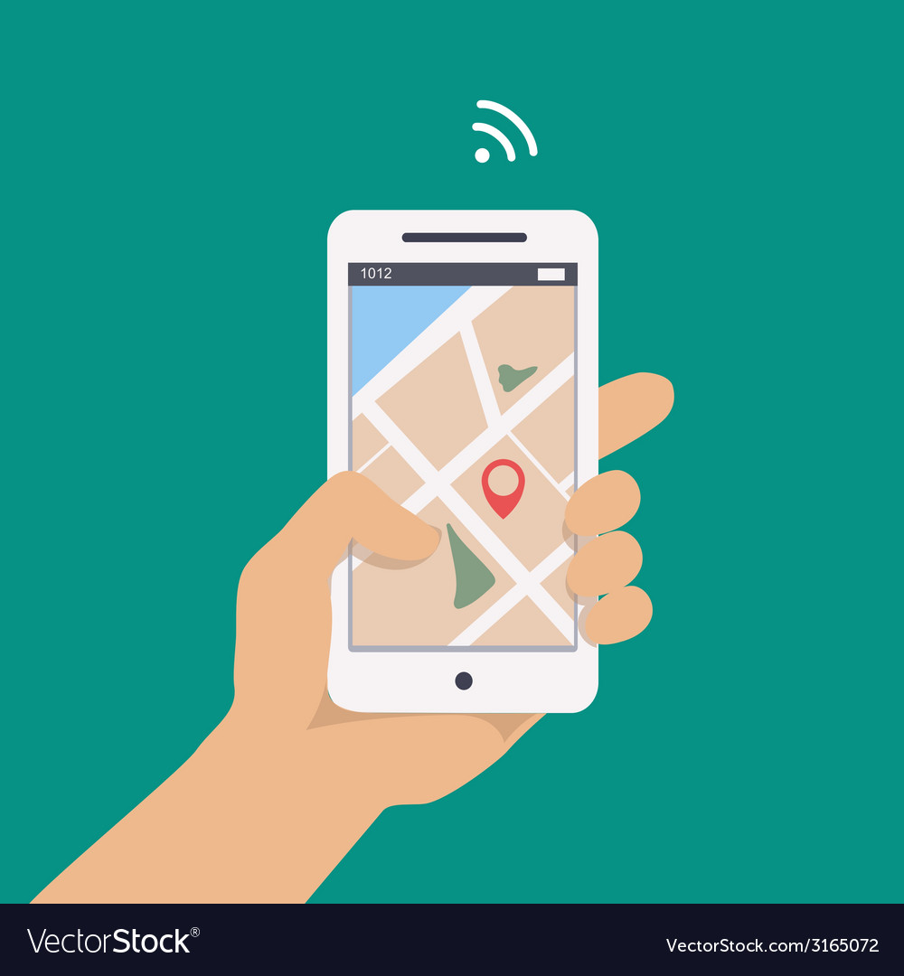 Concept of man holding smartphone in hand with gps vector | Price: 1 Credit (USD $1)