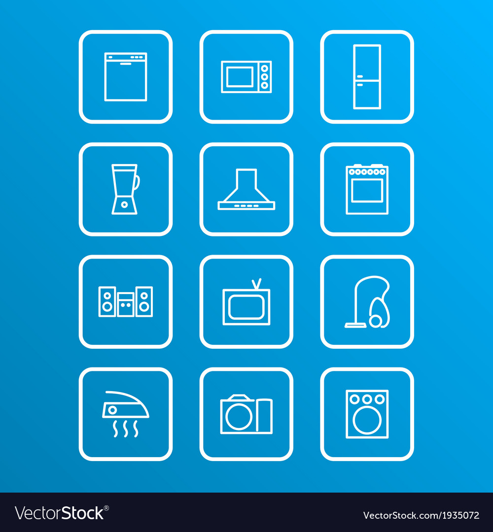 Household appliances icons 4 vector | Price: 1 Credit (USD $1)