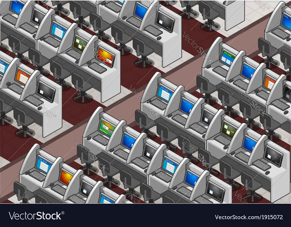 Isometric call center office vector | Price: 1 Credit (USD $1)