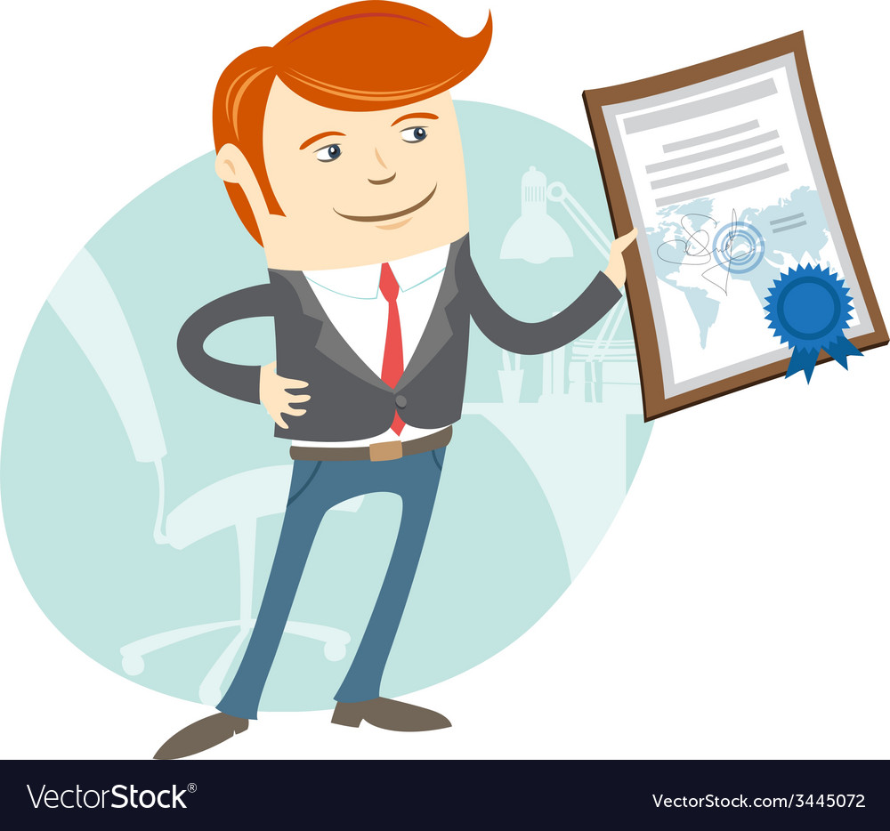 Office man showing a diploma vector | Price: 1 Credit (USD $1)