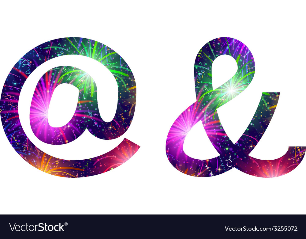 Set of signs at and ampersand firework vector | Price: 1 Credit (USD $1)