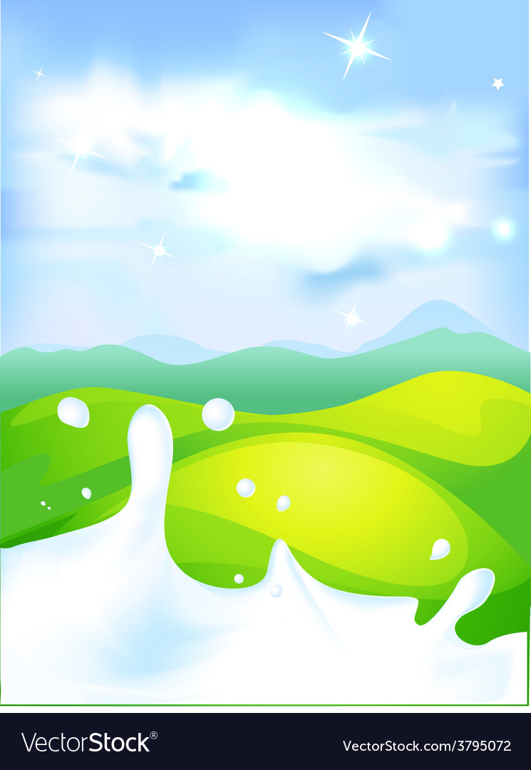 Splash of milk - with green field and natura vector | Price: 1 Credit (USD $1)