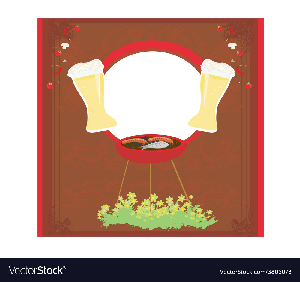 Barbecue party invitation vector | Price: 1 Credit (USD $1)