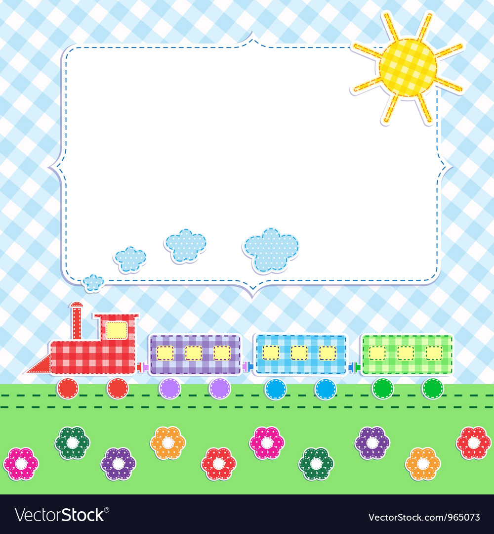 Frame with cartoon train vector | Price: 1 Credit (USD $1)