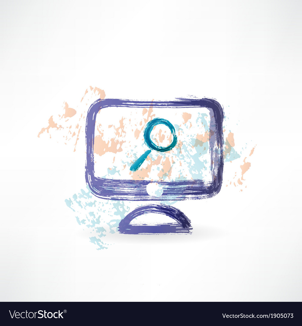 Magnifying monitor grunge icon vector | Price: 1 Credit (USD $1)