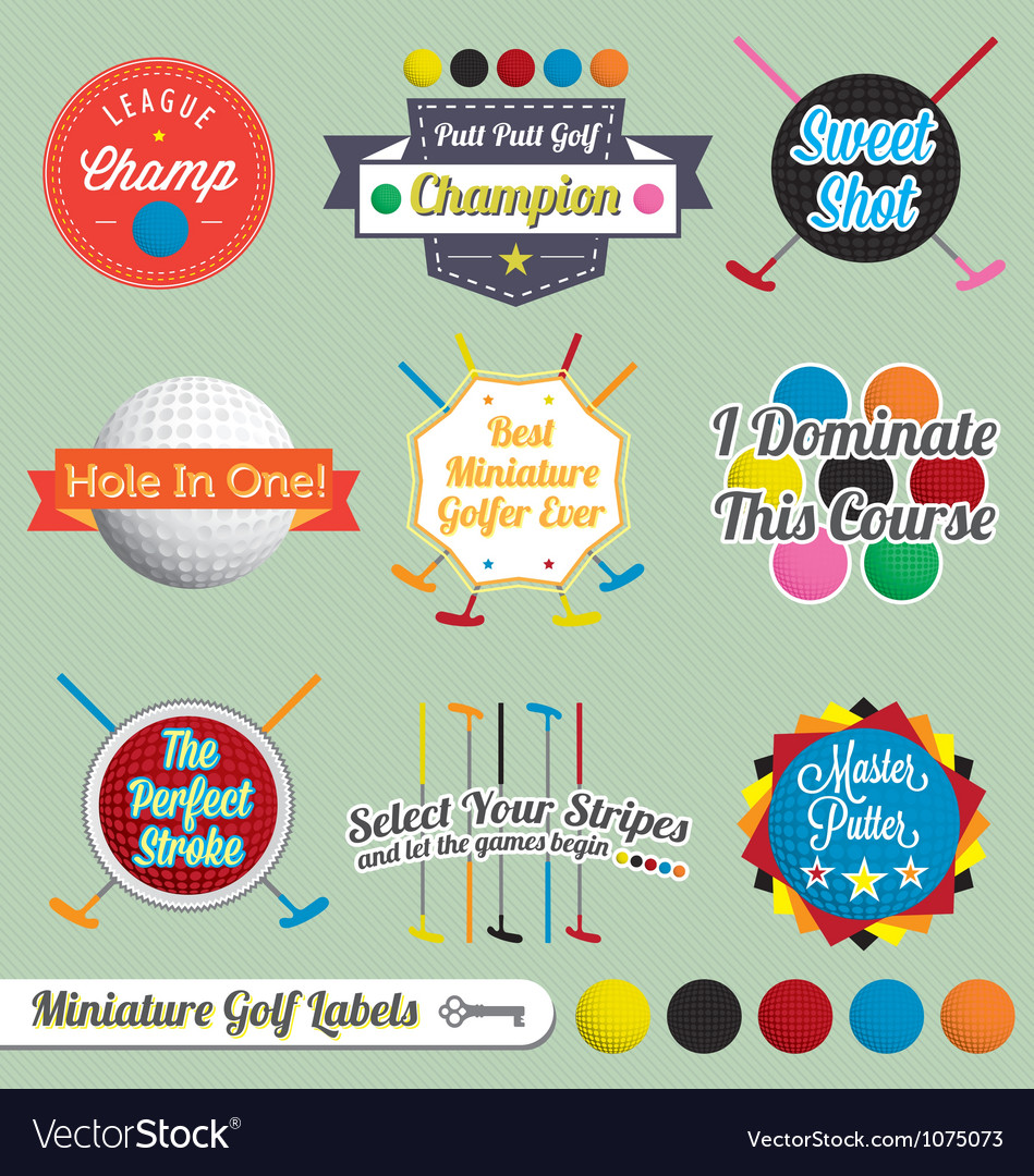 Miniature golf labels and icons vector | Price: 1 Credit (USD $1)