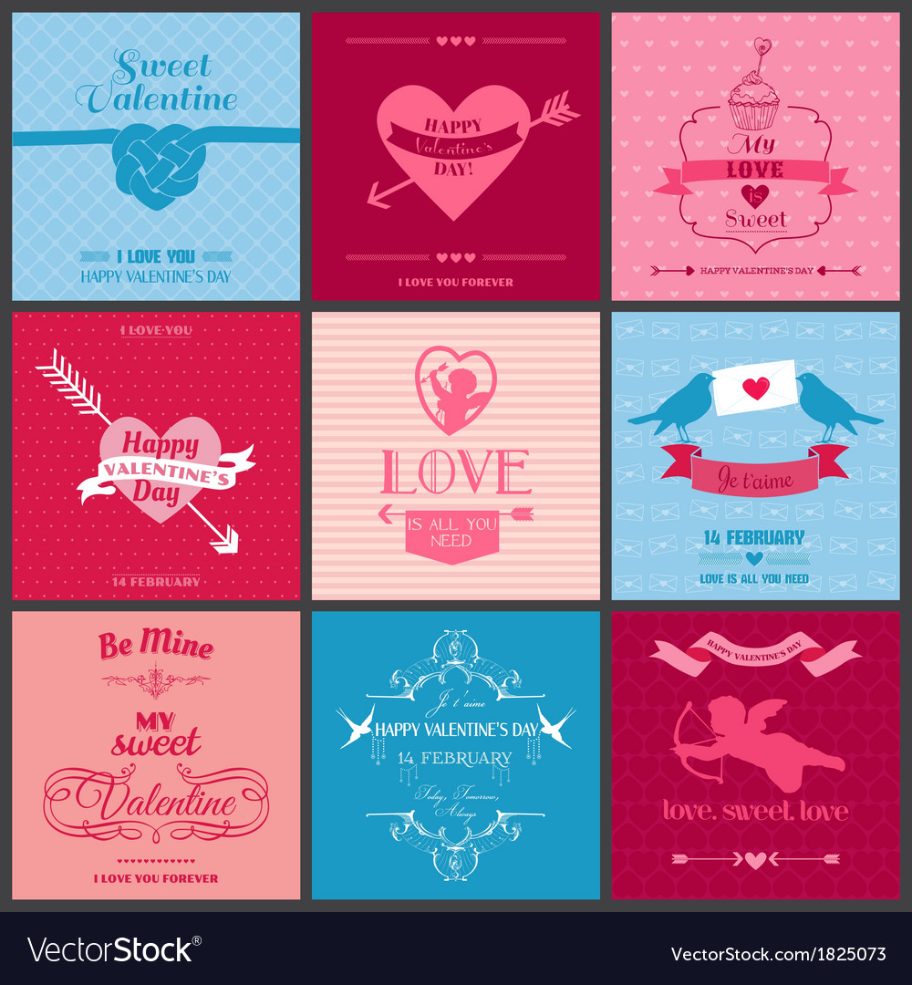 Set of love cards - wedding valentines day vector | Price: 1 Credit (USD $1)