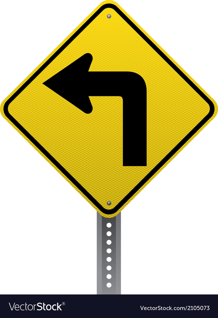 Sharp turn sign vector | Price: 1 Credit (USD $1)