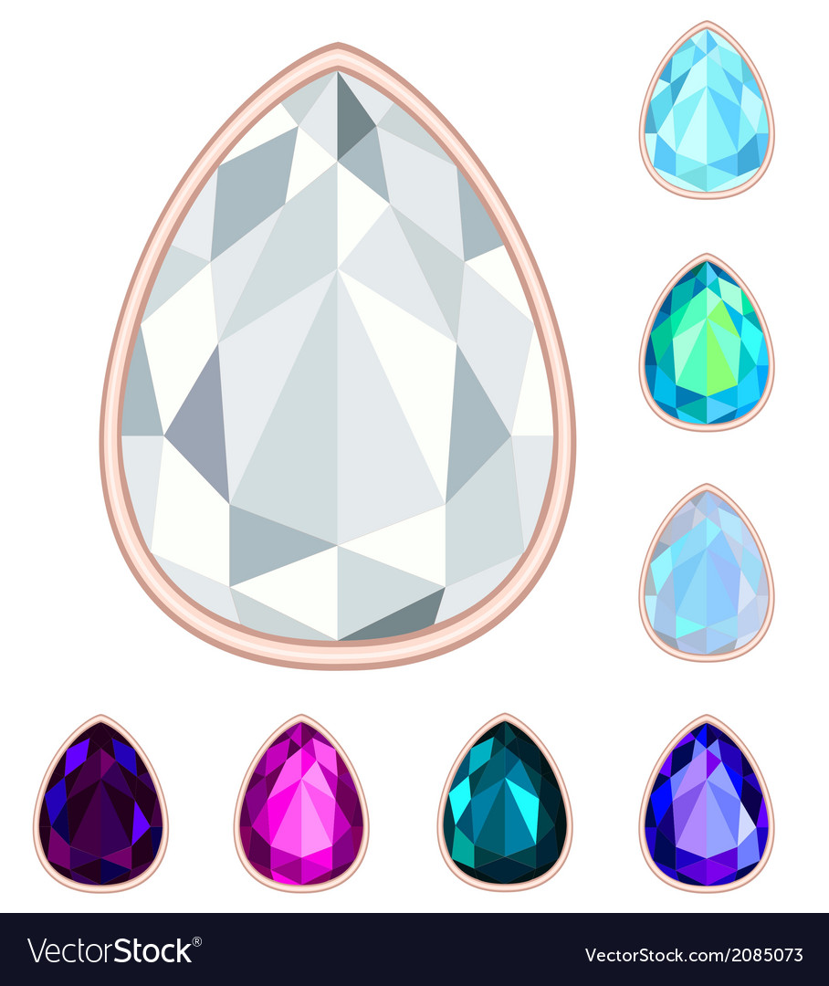 Teardrop gemstone set vector | Price: 1 Credit (USD $1)