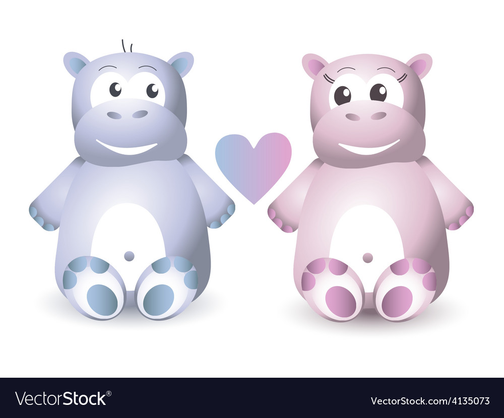 Two cute hippo sitting vector | Price: 1 Credit (USD $1)