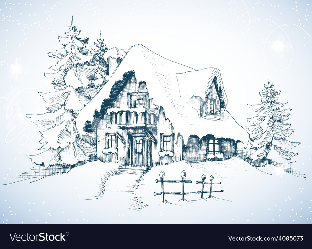 Winter idyllic landscape pine trees and house in vector