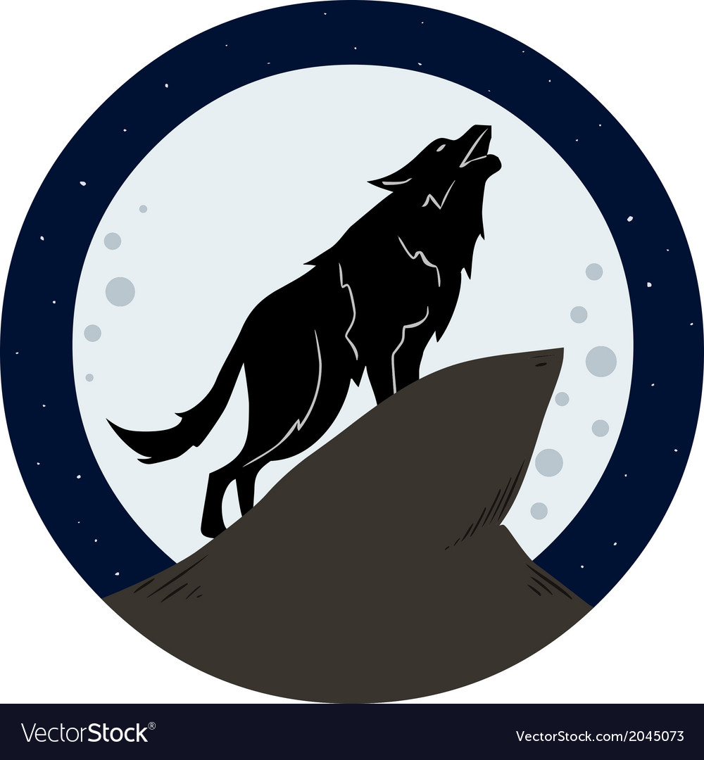 Wolf howling to the moon at night vector | Price: 1 Credit (USD $1)
