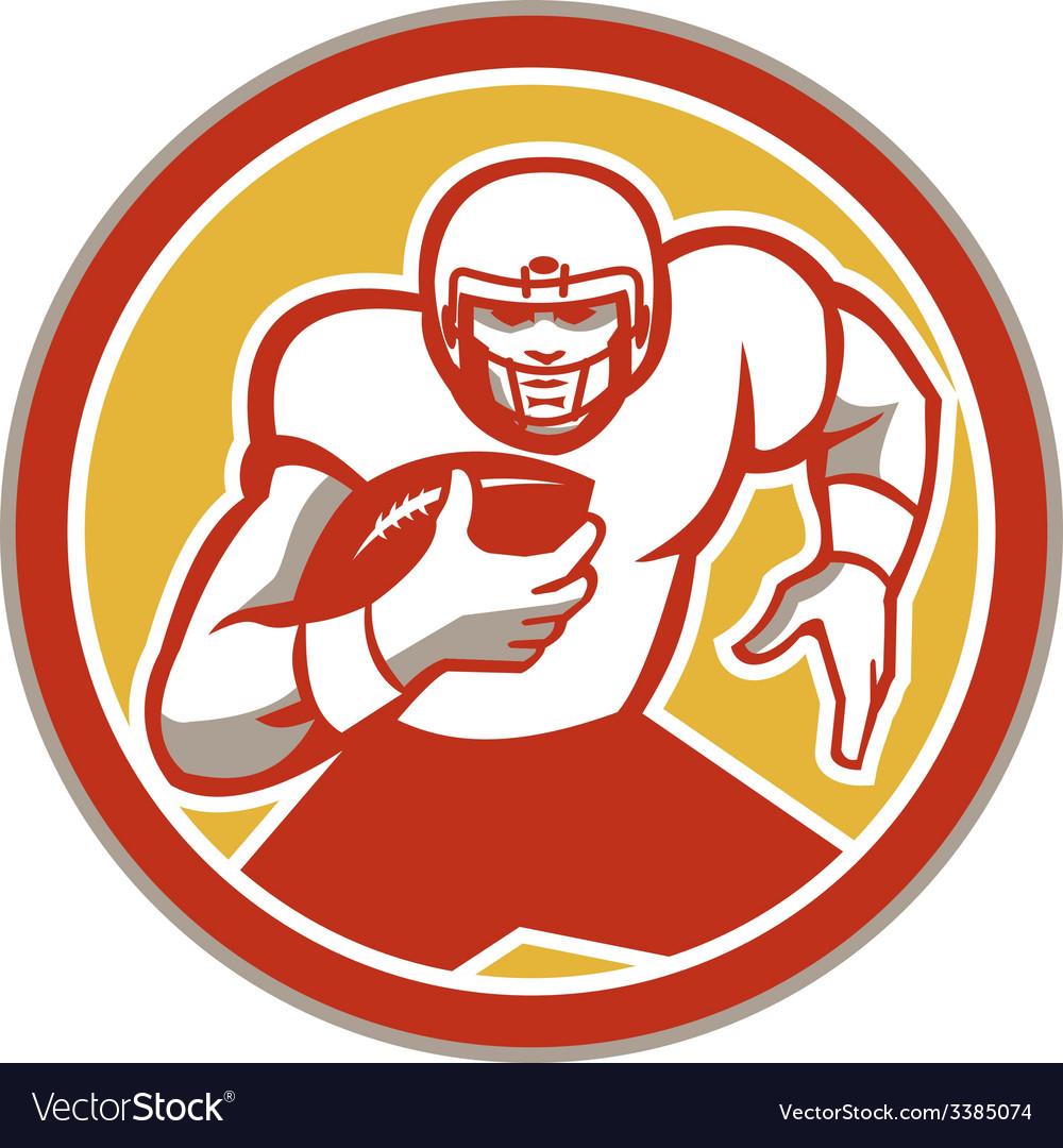 American football running ball circle retro vector | Price: 1 Credit (USD $1)