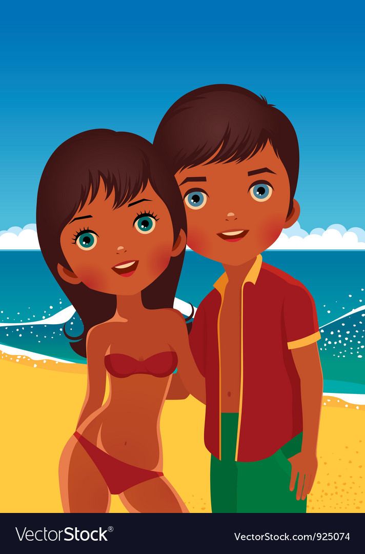 Couple on the beach vector | Price: 5 Credit (USD $5)