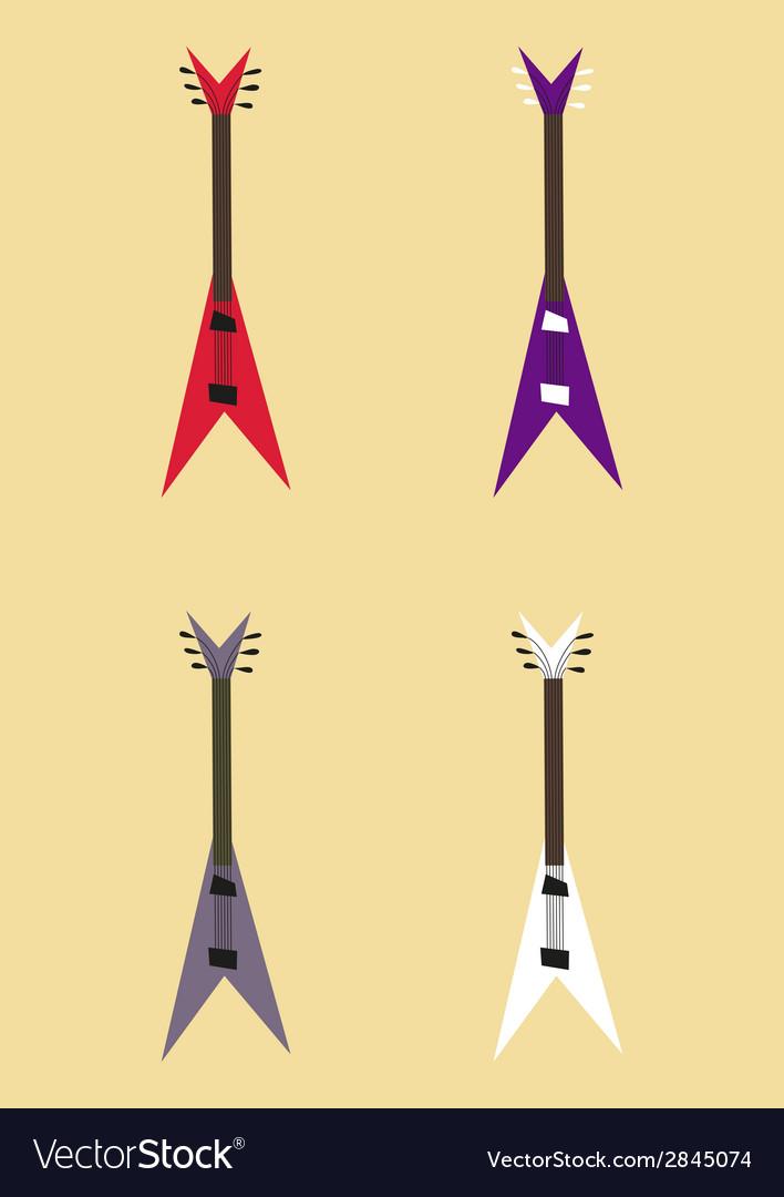 Electric guitar sign set guitar design colorful vector | Price: 1 Credit (USD $1)