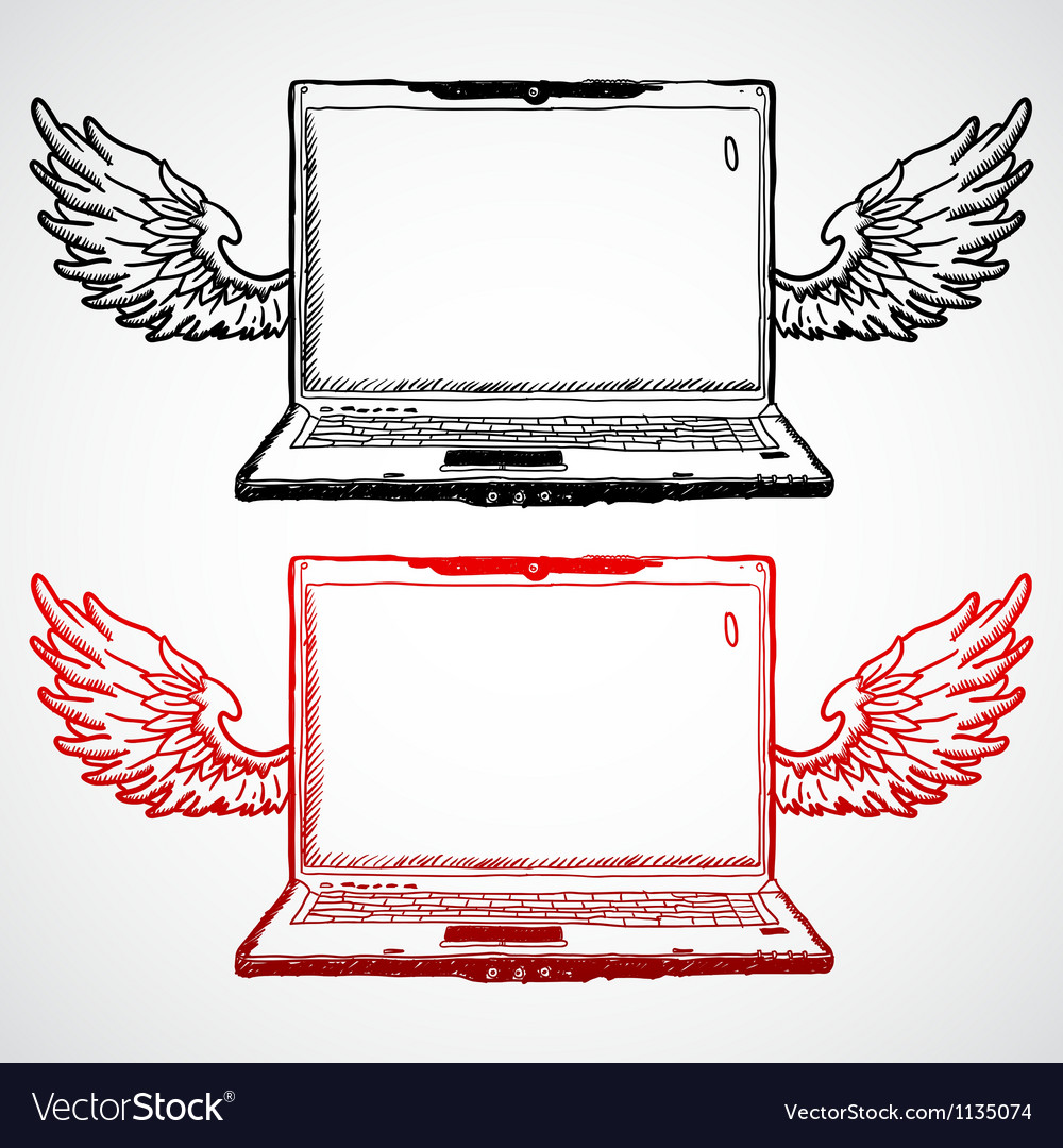 Laptop with wings doodle concept vector | Price: 1 Credit (USD $1)