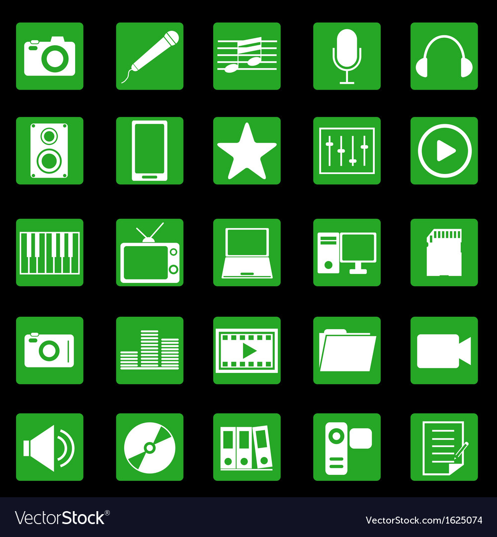 Media icons on green button vector | Price: 1 Credit (USD $1)