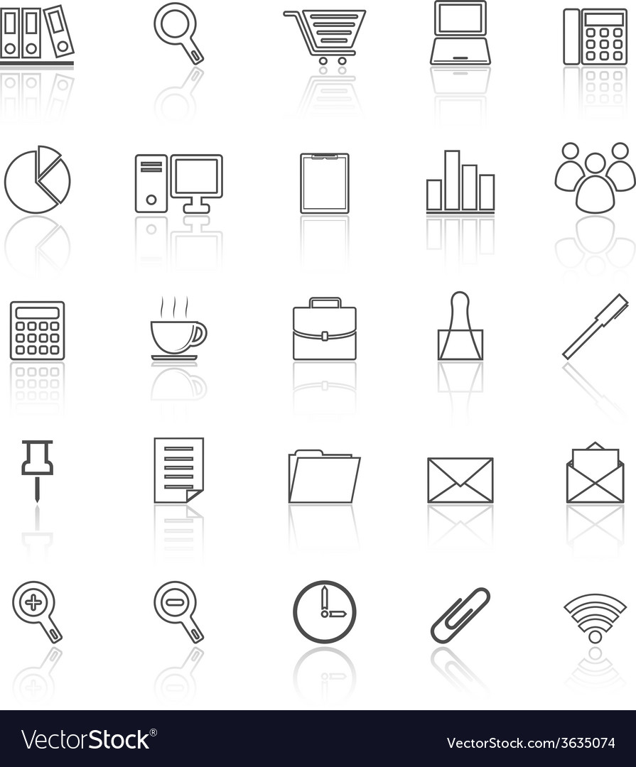 Office line icon reflect on white background vector | Price: 1 Credit (USD $1)
