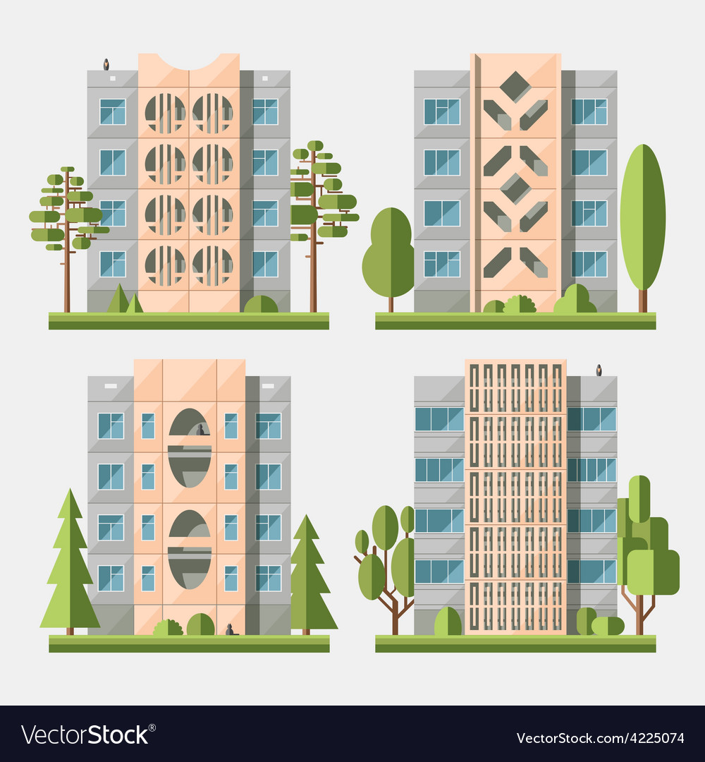 Panel houses flat set3 vector | Price: 3 Credit (USD $3)