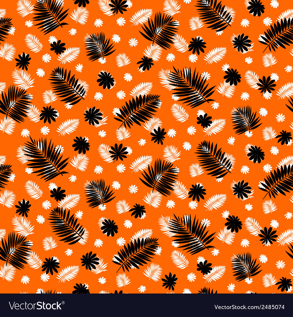Pattern with palm leafs inspired by tropics nature vector | Price: 1 Credit (USD $1)