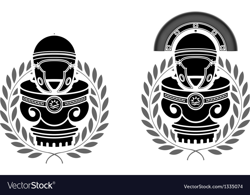 Pedestals of roman helmets vector | Price: 1 Credit (USD $1)