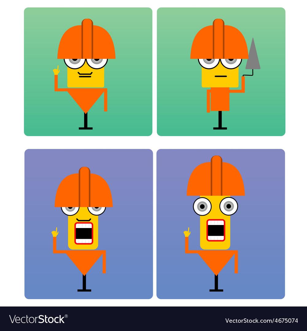 Plasterer characters with orange helmet vector | Price: 1 Credit (USD $1)