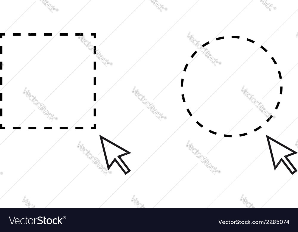 Selection rectangle and circle with pointer vector | Price: 1 Credit (USD $1)
