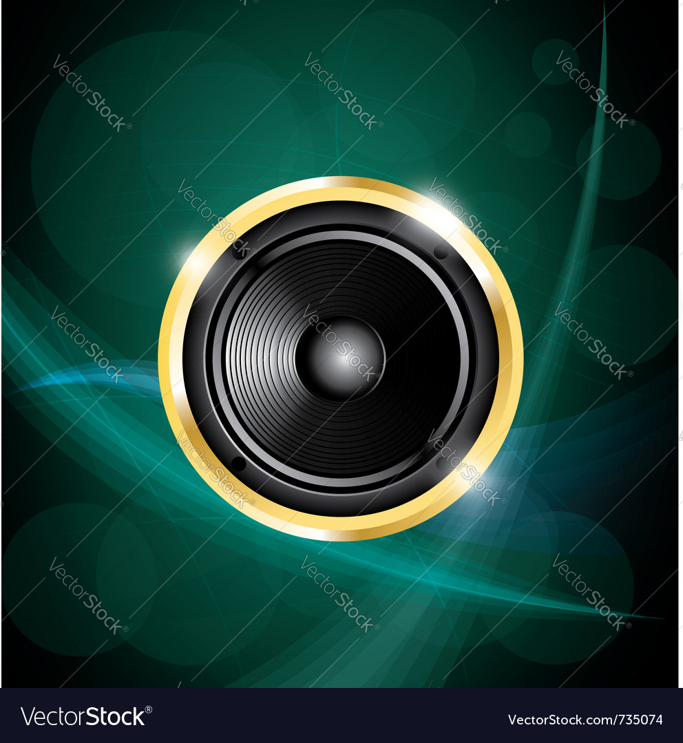 Speaker on green neon background vector | Price: 1 Credit (USD $1)