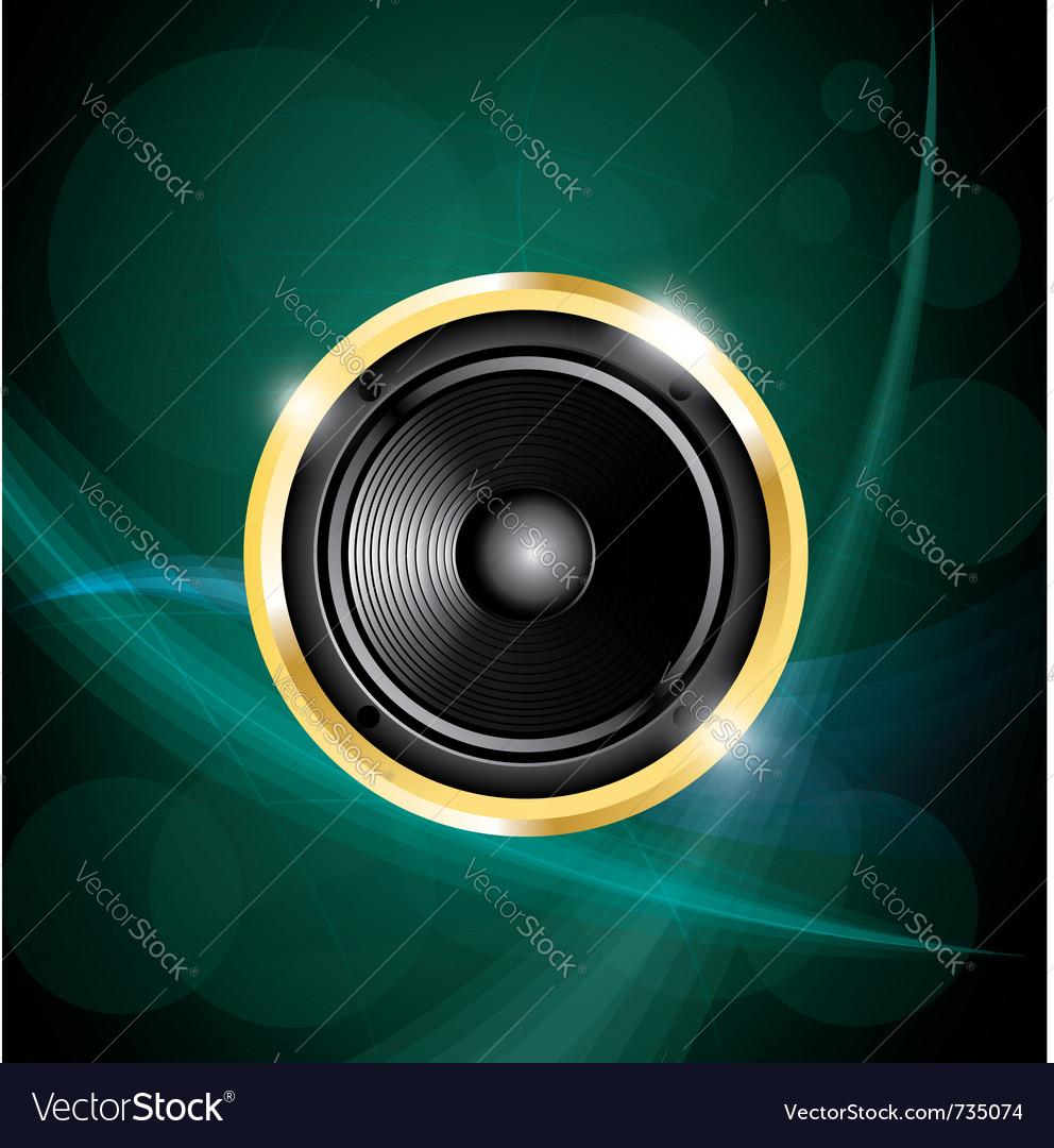 Speaker on green neon background vector | Price: 1 Credit (USD $1)