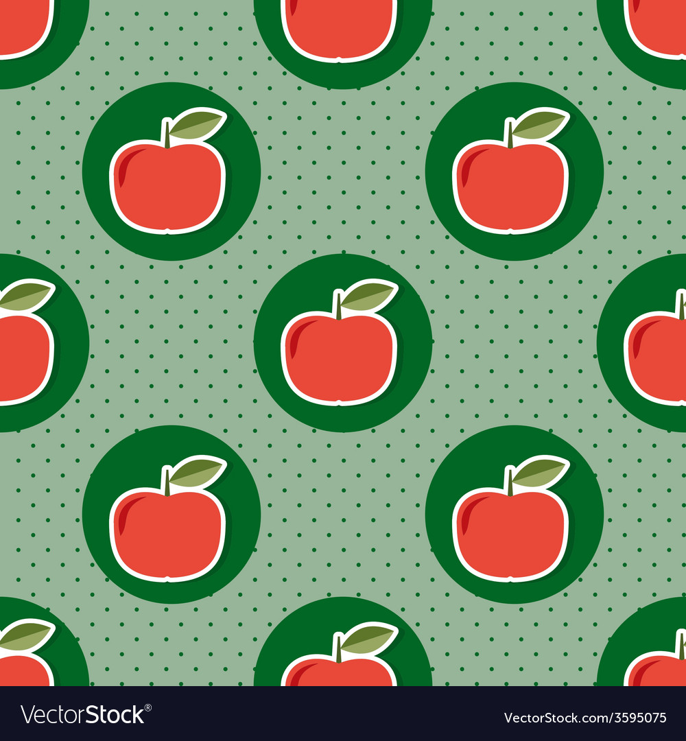 Apple pattern seamless texture with ripe red vector | Price: 1 Credit (USD $1)