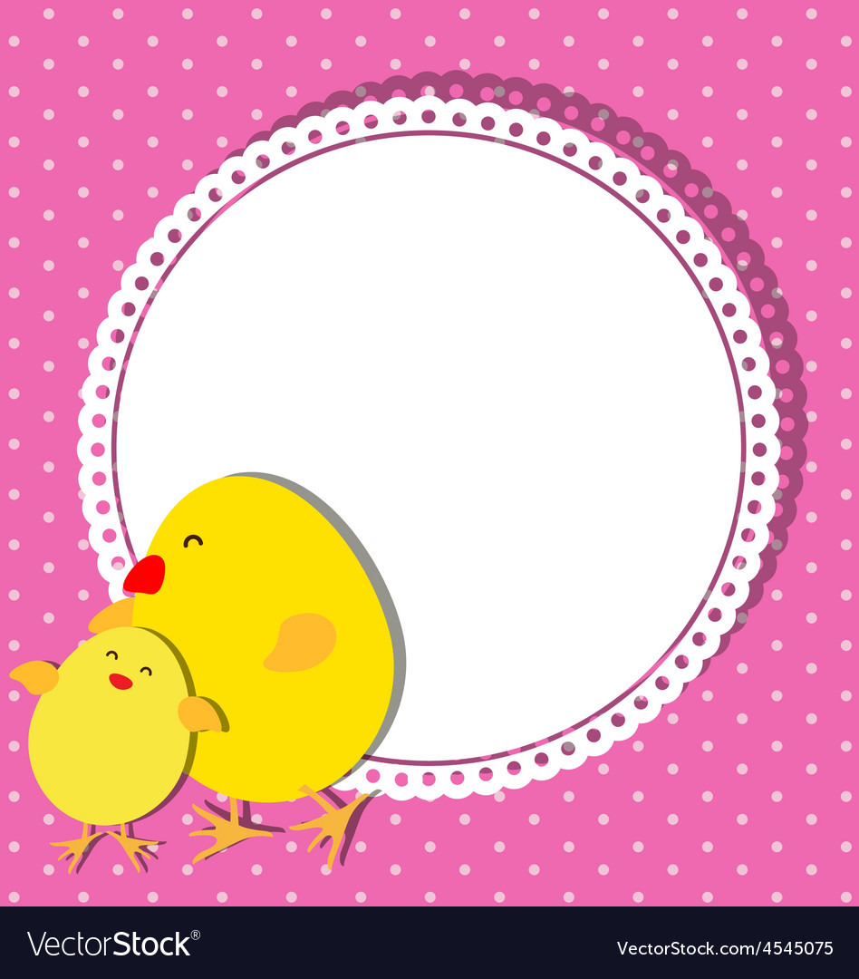 Chick and chicken on card design for mothers day vector | Price: 1 Credit (USD $1)