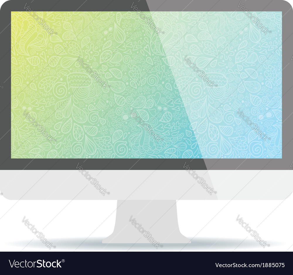 Computer display with hipster doodle background vector | Price: 1 Credit (USD $1)
