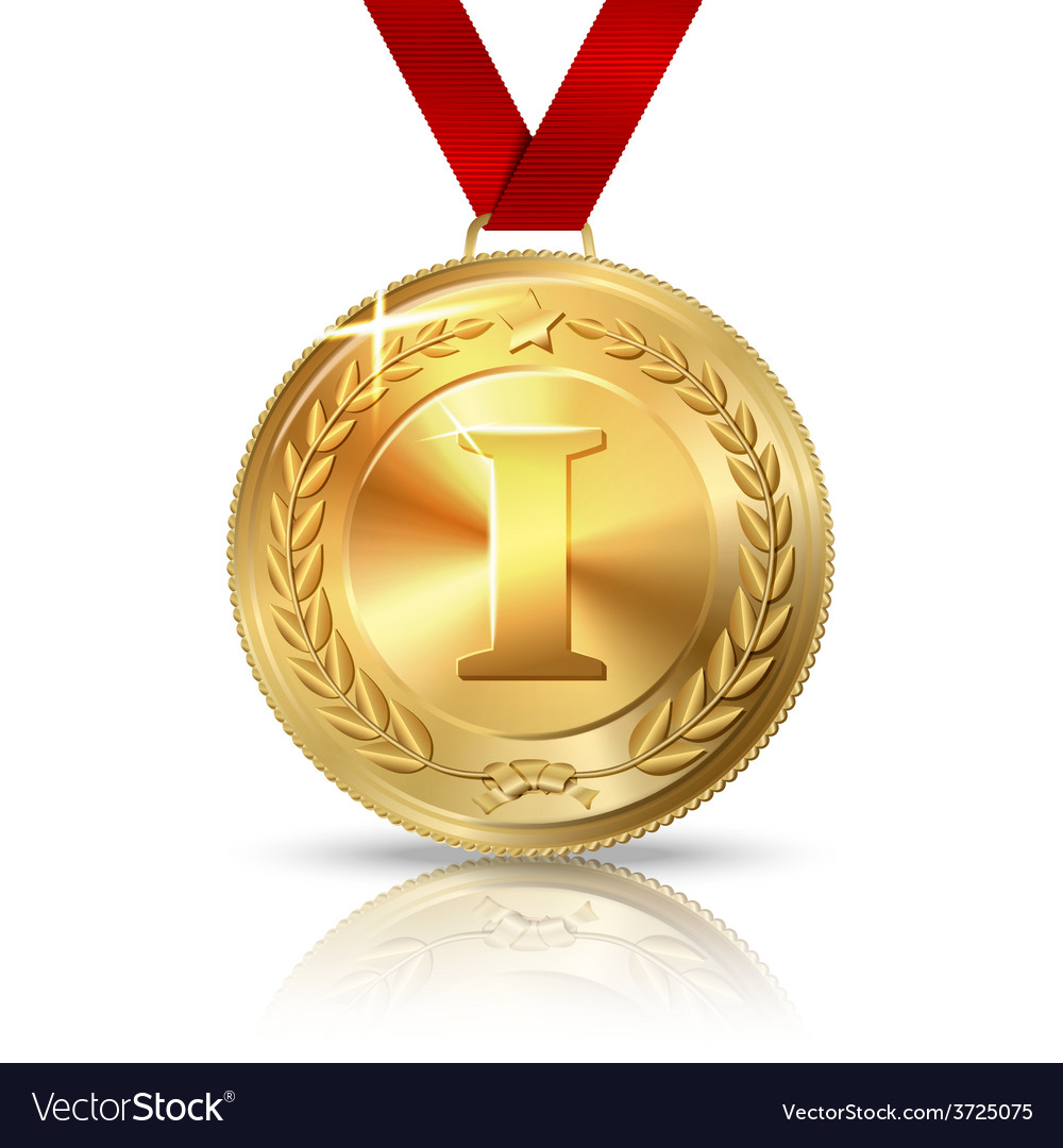 Golden first place medal with red ribbon vector | Price: 1 Credit (USD $1)
