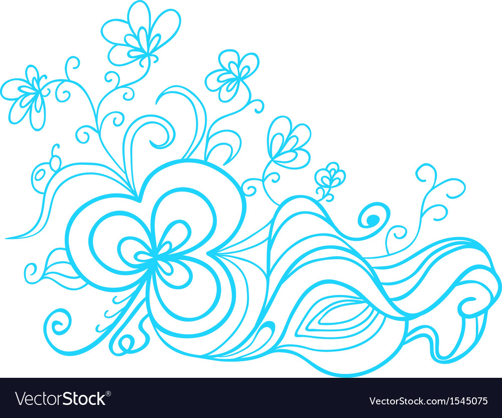 Hand drawn floral doodle vector | Price: 1 Credit (USD $1)