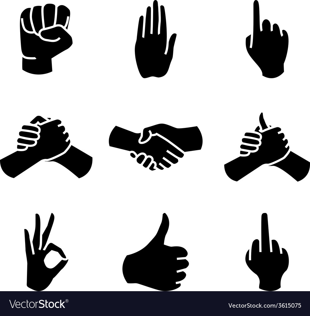 Human hand collection different hands gestures vector | Price: 1 Credit (USD $1)