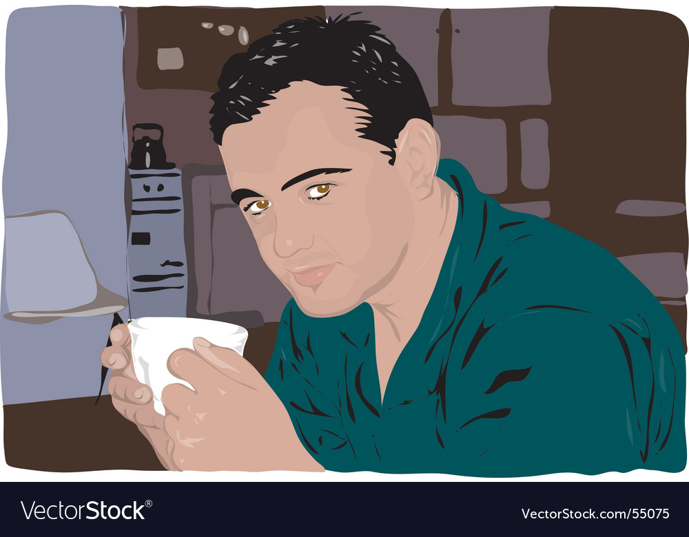 Man drinking coffee vector | Price: 3 Credit (USD $3)
