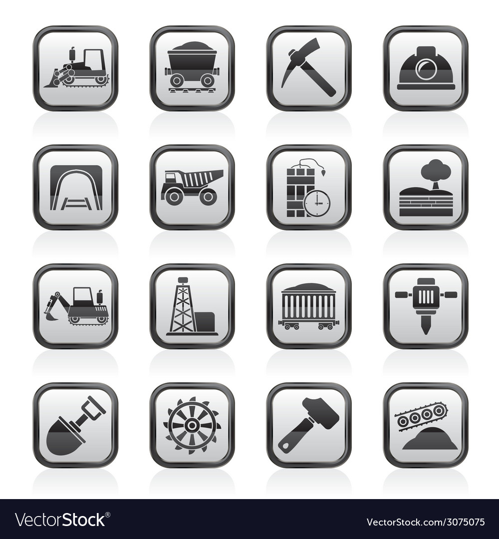Mining and quarrying industry icons vector   Price: 1 Credit (USD $1)