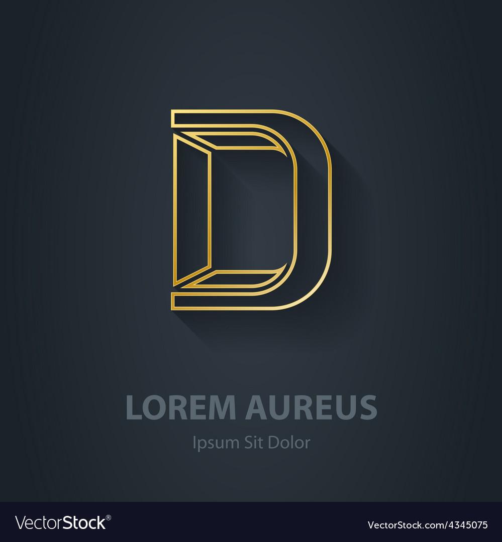 Outline letter d elegant gold font template for vector | Price: 1 Credit (USD $1)