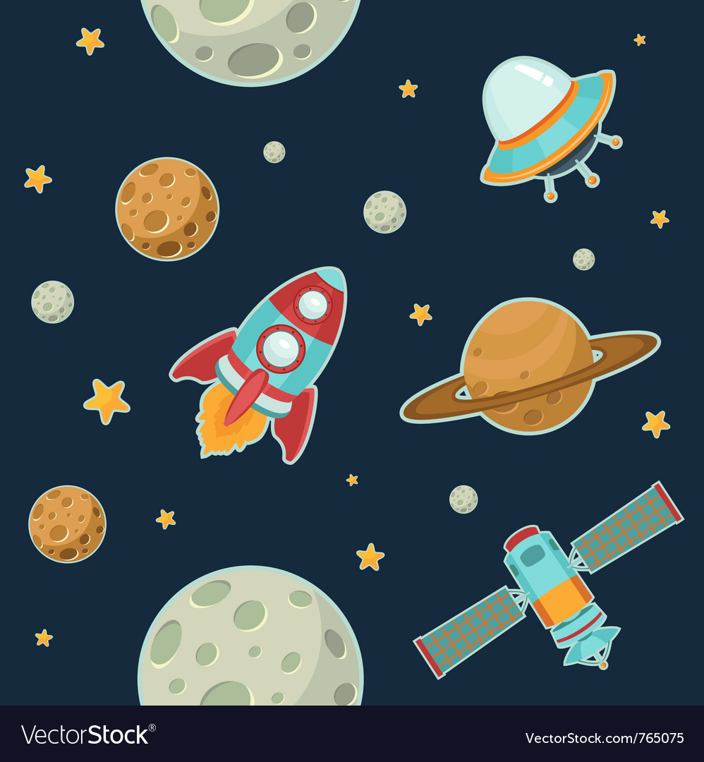 Space seamless pattern vector | Price: 3 Credit (USD $3)