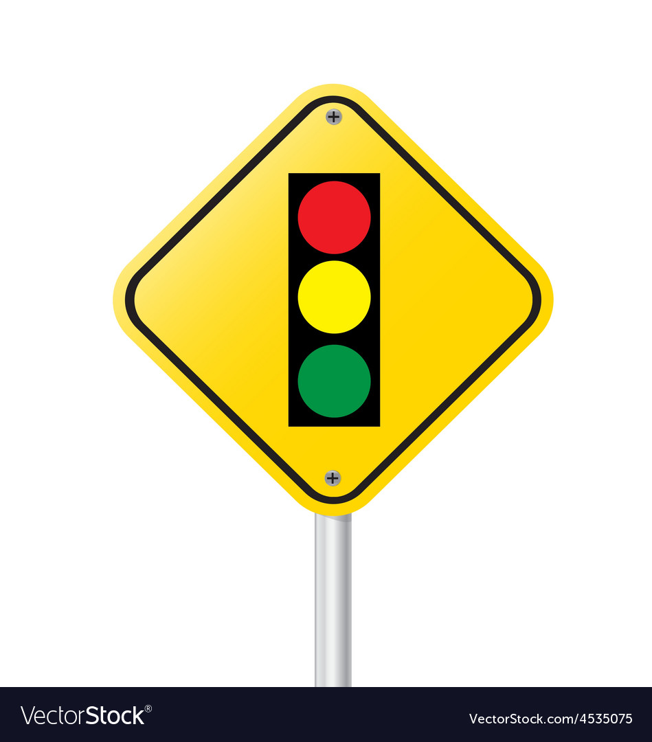 Traffic light over yellow sign vector | Price: 1 Credit (USD $1)