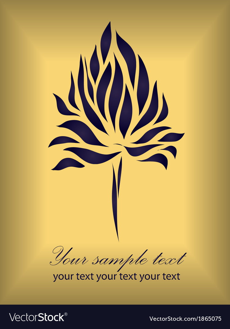Vintage flower on gold background vector | Price: 1 Credit (USD $1)