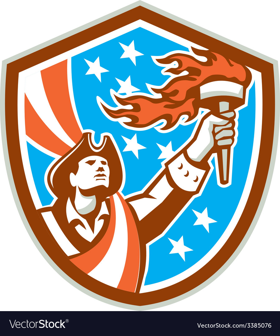 American patriot holding torch flag shield retro vector | Price: 1 Credit (USD $1)